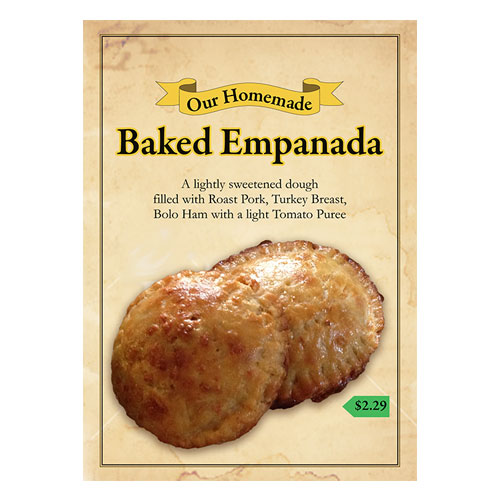Baked Empanada standing flyer at MIA / Designed by Jacob Rousseau