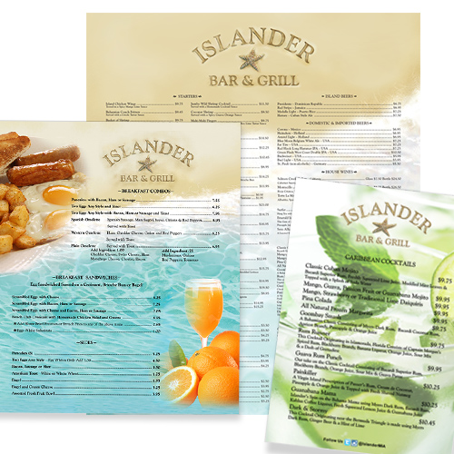 Islander Bar and Grill at MIA menu / Designed by Jacob Rouseau